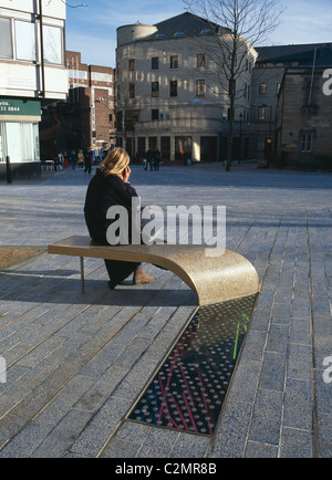 Laing Art Gallery Square, Newcastle - Seating - Stock Photo
