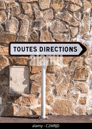 French road sign signpost Toutes Directions directional signs France Europe - Stock Photo