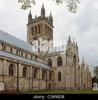 Selby Abbey clock/bell tower and south transept viewed from the south west - Stock Photo