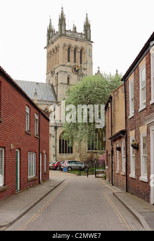 Selby Abbey viewed from Church Lane to the North of the Abbey - Stock Photo