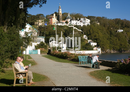 Wales Gwynedd Portmeirion, village from harbour path - Stock Photo