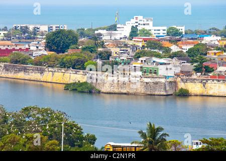 Walls around the old city, Cartagena, Colombsia - Stock Photo