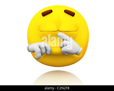 Smiley, Emoticon. Facial expression. Crying emotional expression on a yellow face with large eyes. Crying gesture. - Stock Photo