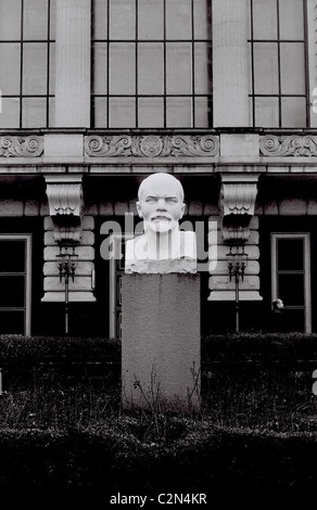 Black and white image of a bust of Lenin, taken in East Berlin in April 1988. - Stock Photo