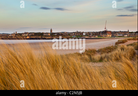 St Andrews as seen from the West Sands at Sunset - Stock Photo