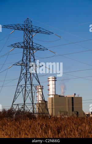 Pylon and power station Newport Wales UK - Stock Photo