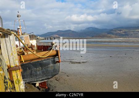Mawddach Estuary Barmouth at low tide Gwynedd mid Wales UK United Kingdom GB Great Britain - Stock Photo
