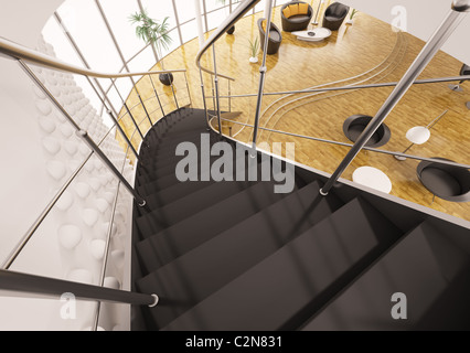 Metal staircase with black steps in modern apartment interior 3d render - Stock Photo