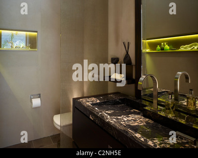 Modern detached house, West Hollywood, California. Bathroom with black marble - Stock Photo