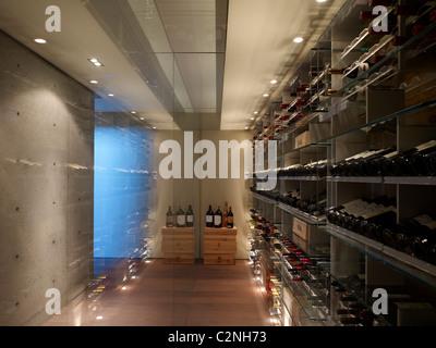 Modern detached house, West Hollywood, California. Modern wine cellar. - Stock Photo