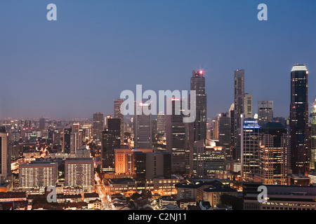 Singapore Central Business District (CBD) skyline seen from Pinnacle@Duxton's 50th-storey sky garden. - Stock Photo