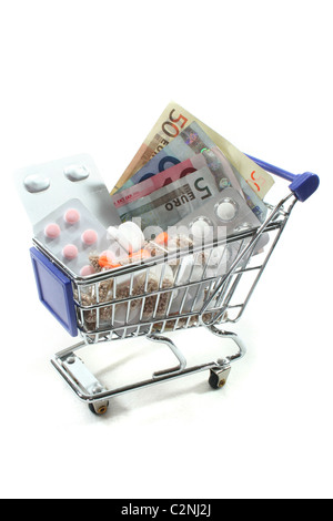 Shopping Cart with tablets and euro notes