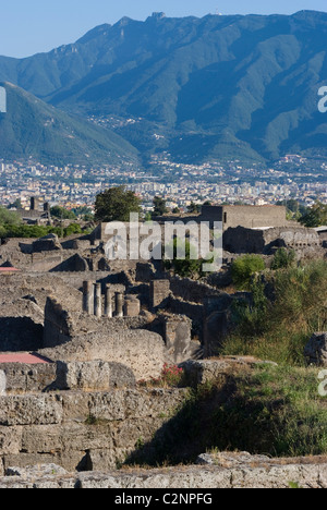 Overlook of the ruins of the ancient Roman City of Pompeii, Campania, Italy - Stock Photo