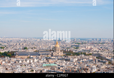 Les invalides - Aerial view of Paris from Eiffel Tower in Paris, France. - Stock Photo