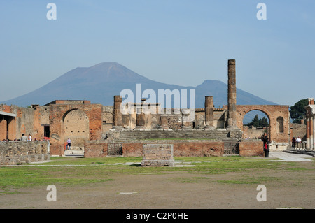 Pompei. Italy. Ancient ruins of the Forum of Pompeii with Mount Vesuvius in the background, Pompeii archaeological - Stock Photo