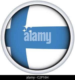Finnish flag button - Stock Photo
