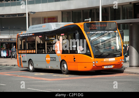 Metroshuttle bus, offers a free service across Manchester city centre. - Stock Photo
