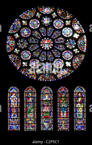 Stained glass window in the Cathedral of Notre Dame, Chartres, France - Stock Photo