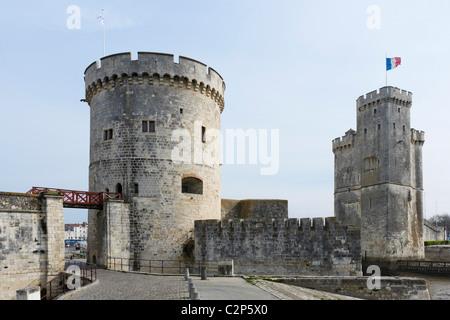 Tour de la Chaine and Tour St Nicolas at the entrance to the harbour, La Rochelle, Poitou Charentes, France - Stock Photo