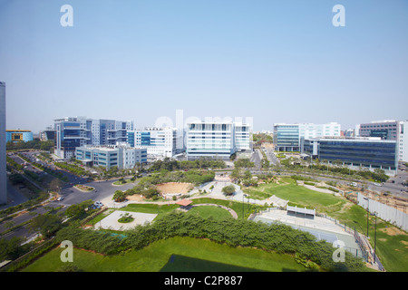 India, Hyderabad, development, growth, business, colour, color, vibrant, street, new, old, Holi, finance, money, aerial view,