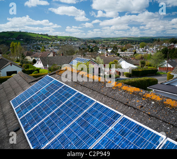 Solar panels on the roof of a house in Totnes Devon UK - Stock Photo