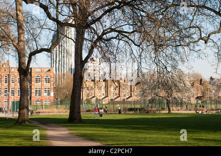 Grounds of Imperial War Museum with the view of Strata skyscraper, Southwark, Lambeth, London, UK - Stock Photo