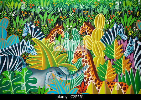 Haitian art paintings, Port-au-Prince, Haiti, by Luis R. Rosemon - Stock Photo