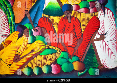 Haitian art paintings, Port-au-Prince, Haiti, by M J Yues - Stock Photo
