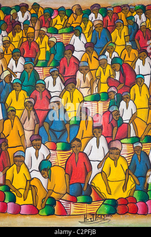 Haitian art paintings, Port-au-Prince, Haiti by H Jackson - Stock Photo