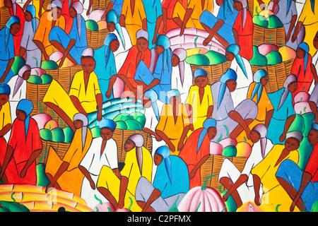 Haitian art paintings, Port-au-Prince, Haiti, by H Jackson - Stock Photo