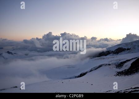Sunset in Caucasus mountains. Near peak Elbrus. Kabardino-Balkaria. Russia. - Stock Photo