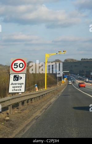 Average speed cameras, average speed check, on the M4 motorway, England, UK - Stock Photo