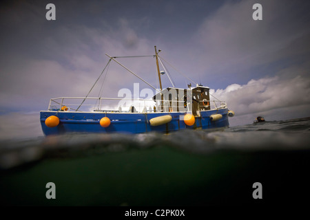 Split-level view of the dive boat 'Radiant Queen' with diver at the surface in Scapa Flow, Orkney - Stock Photo