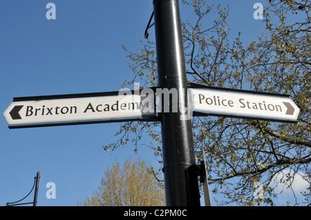 Brixton Academy sign Police Station - Stock Photo