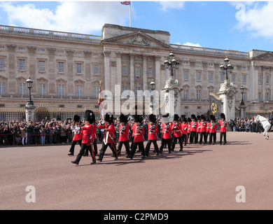 Changing the Guard at Buckingham Palace in London - Stock Photo
