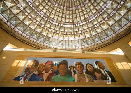 Mural at Union Station Los Angeles downtown Southern California USA - Stock Photo