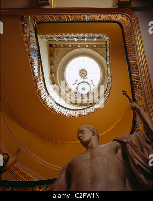 Apsley House. View looking up stairwell with Canova's statue of Napoleon in the foreground. - Stock Photo