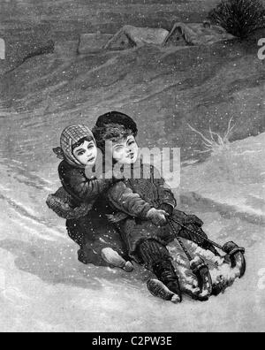 Children tobogganing, historical illustration, about 1886 - Stock Photo