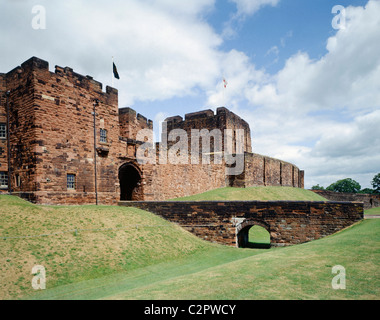 Carlisle Castle. View from the South West of the Outer Gatehouse and the Keep beyond. Mary, Queen of Scots was imprisioned - Stock Photo