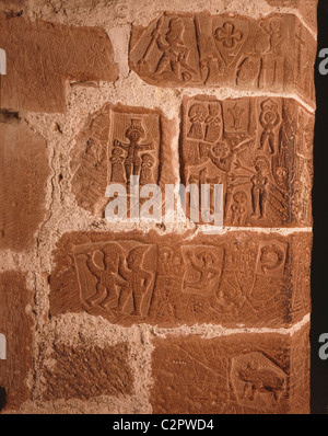 Carlisle Castle. Prisoners carvings dating to around 1480.. - Stock Photo