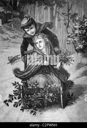 Winter pleasures, historical illustration, about 1886 - Stock Photo