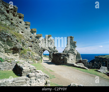 Tintagel Castle. Close-up view of castle walls with sea behind.. - Stock Photo