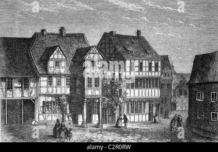 Birthplace of Friedrich Gottlieb Klopstock, Quedlinburg, Germany, historical illustration, circa 1886 - Stock Photo
