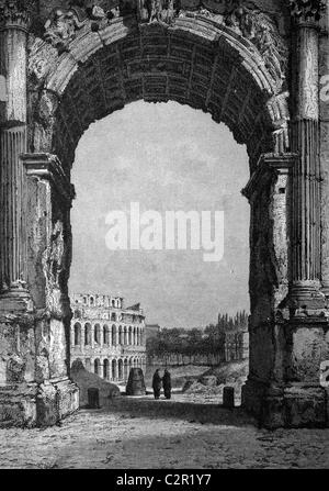 Arch of Titus and the Colosseum in Rome, Italy, historical illustration, circa 1886 - Stock Photo