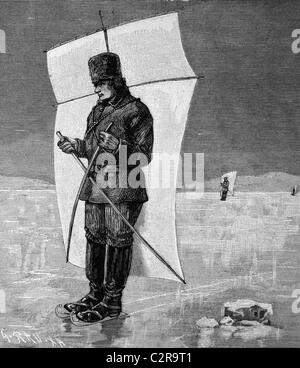 Skat sailing on the frozen Hudson River, North America, historical illustration, circa 1886 - Stock Photo