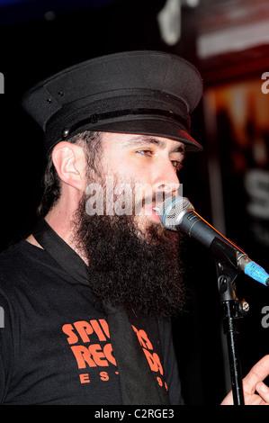 Dan Le Sac Vs Scroobius Pip performing at Zavvi, Oxford Street London, England - 13.05.08 - Stock Photo