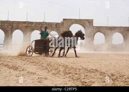 Jerash, Northern Jordan: A charioteer from the Roman Army and Chariot Experience. - Stock Photo