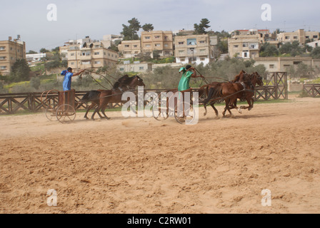 Jerash, Northern Jordan: Charioteers from the Roman Army and Chariot Experience. - Stock Photo