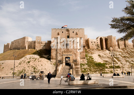 Syria  The Citadel of Aleppo large medieval fortified palace one of the oldest and largest castles in the world - Stock Photo