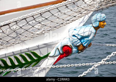 The figurehead on a tall ship berthed in Hartlepool for the tall ships race - Stock Photo